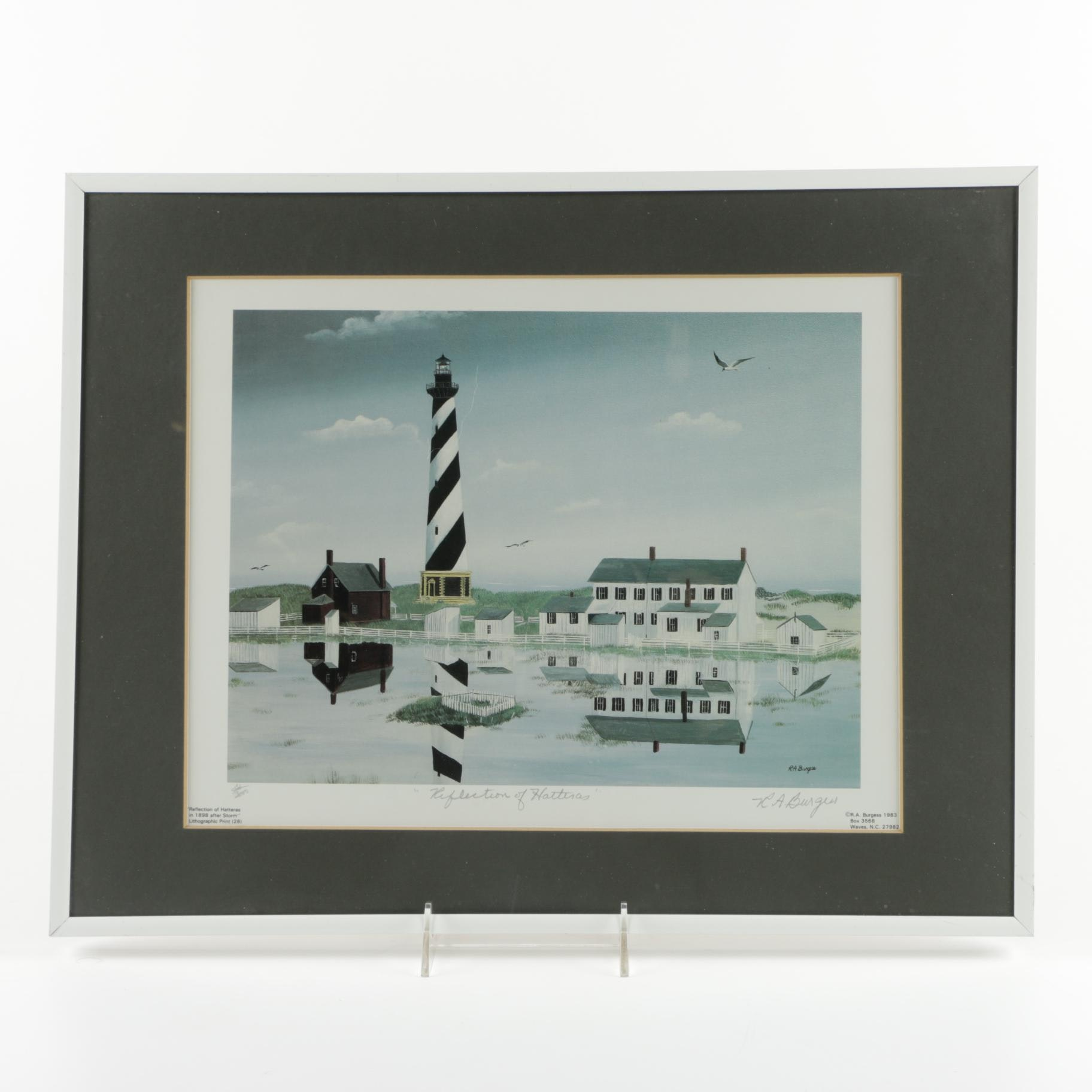 "Ruth Ann Burgess Limited Edition Offset Lithograph ""Reflection of Hatteras"""