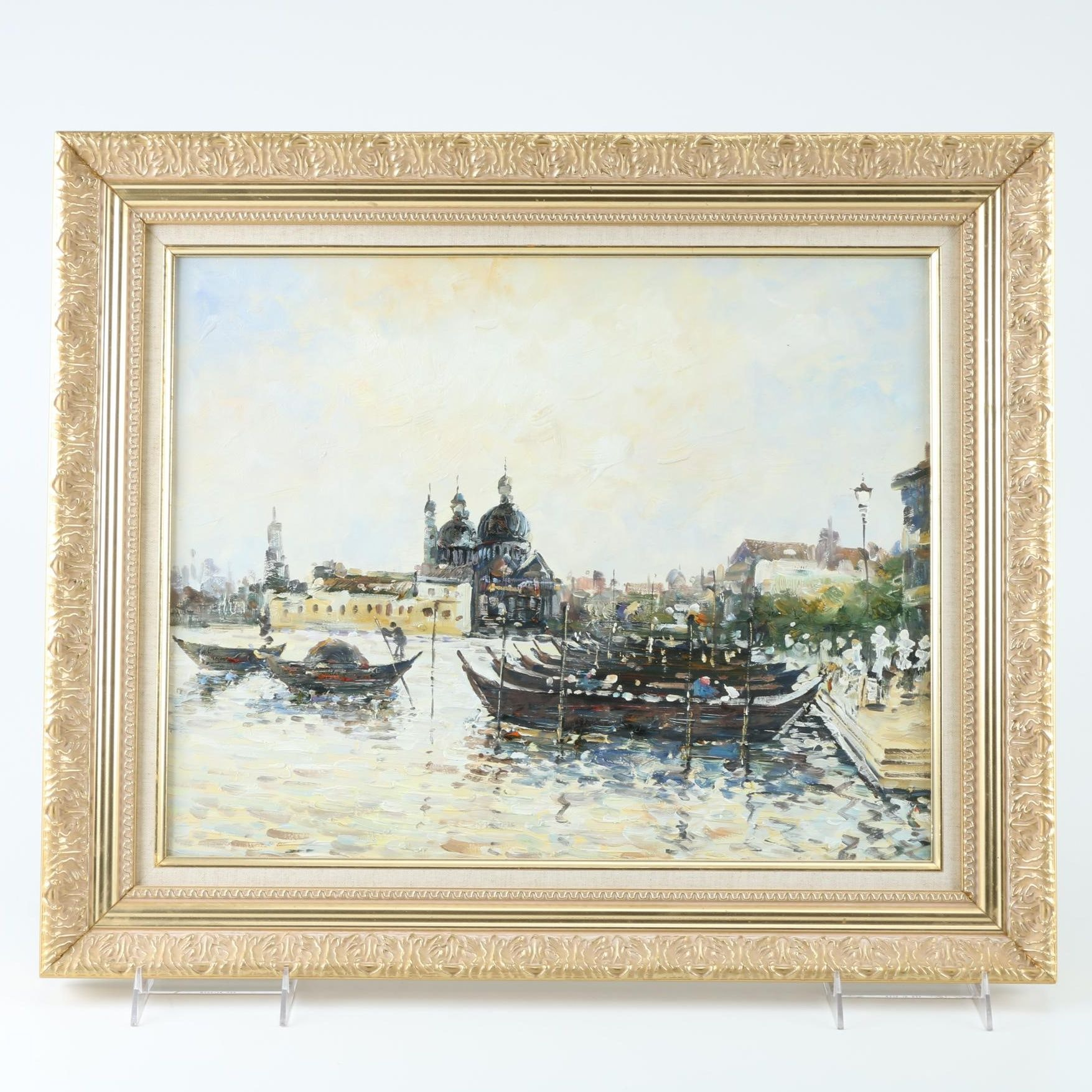 Oil Painting on Canvas of Venice Canal Scene