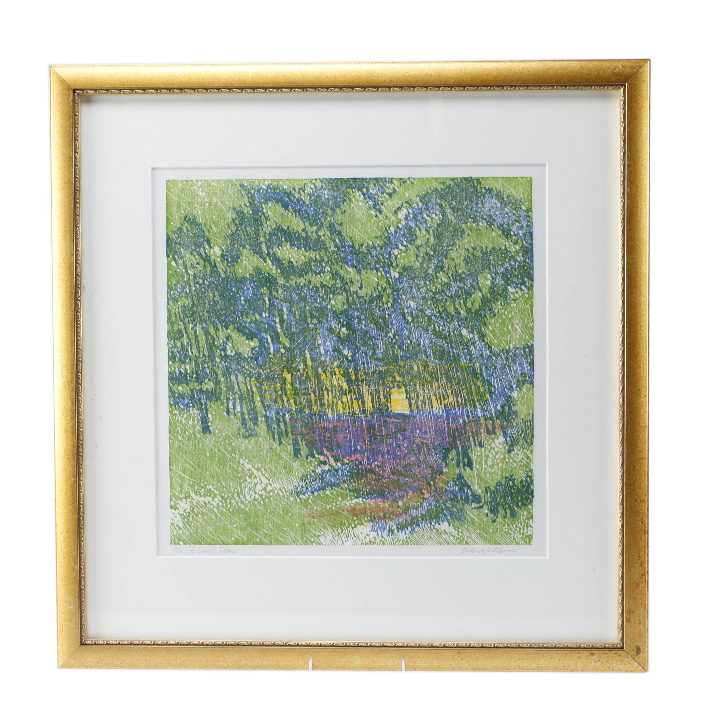 """1987 Gordon Hartshorne Limited Edition Woodcut """"A Secret Place"""""""