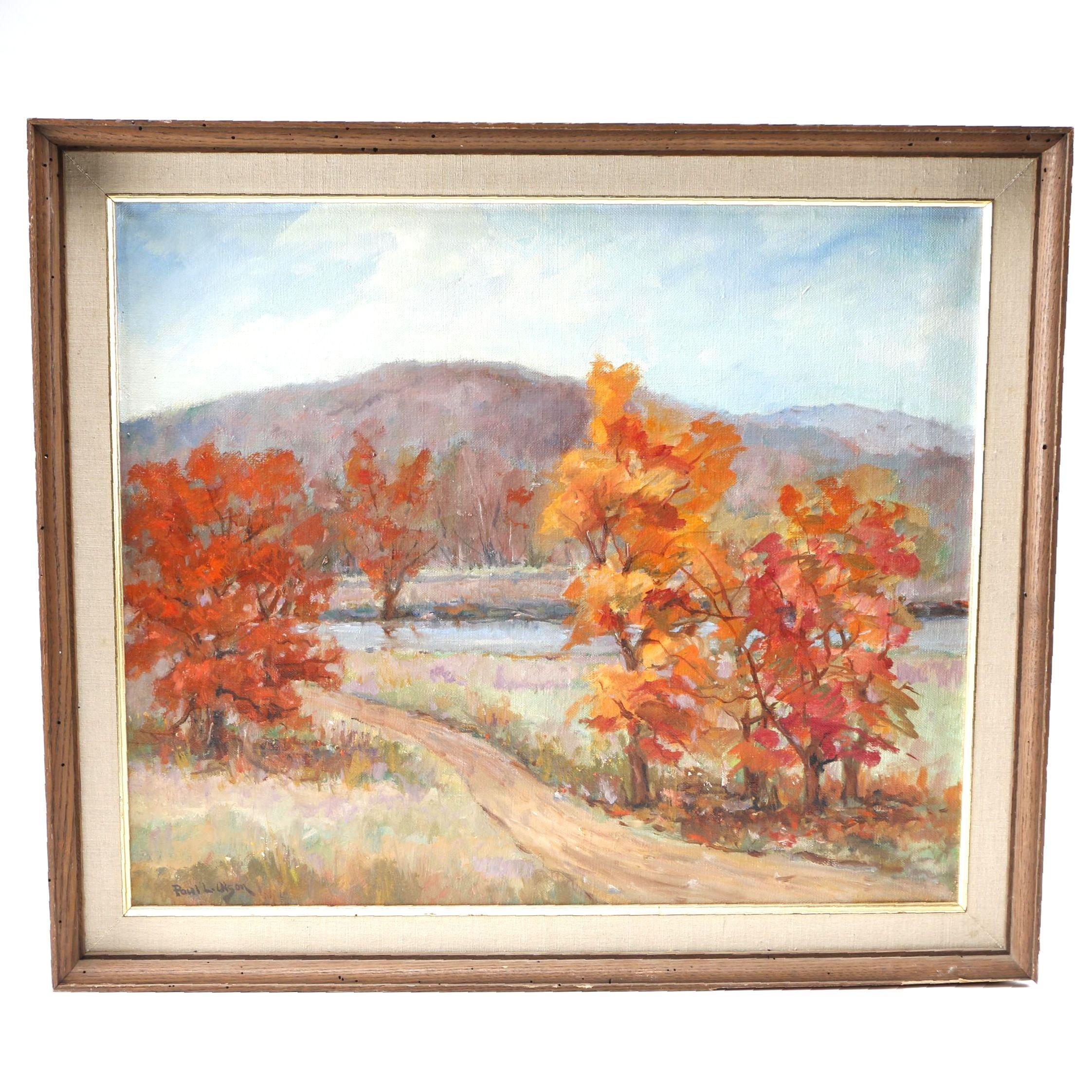 Paul Olsen Oil Painting on Canvas of Landscape Scene