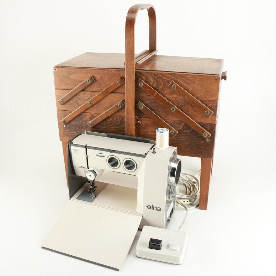 Elna Lotus SP' Sewing Machine And Accordion Case Filled With Sewing Enchanting Elna Lotus Sp Portable Sewing Machine