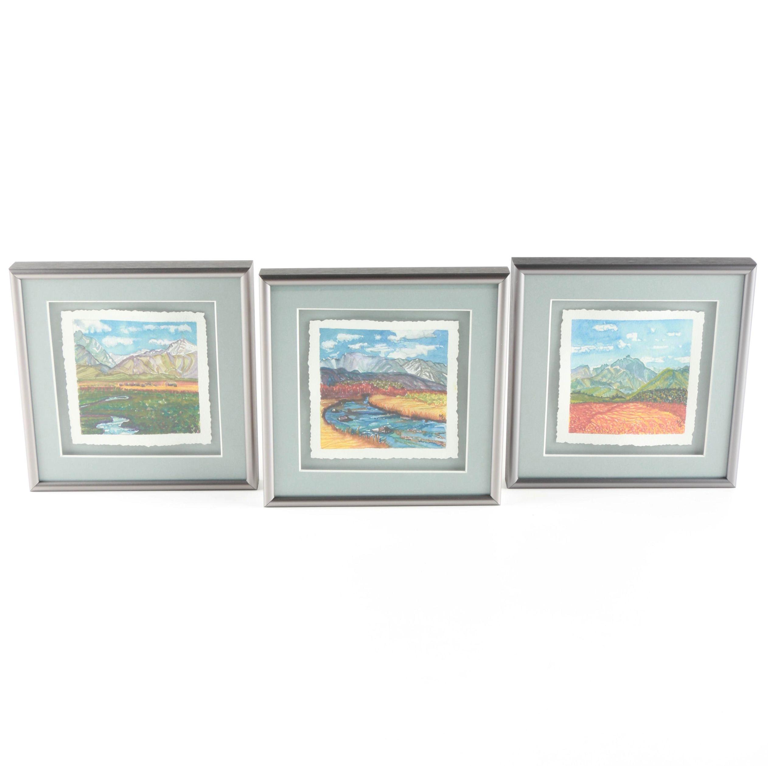 Watercolor Landscape Paintings on Rag Paper