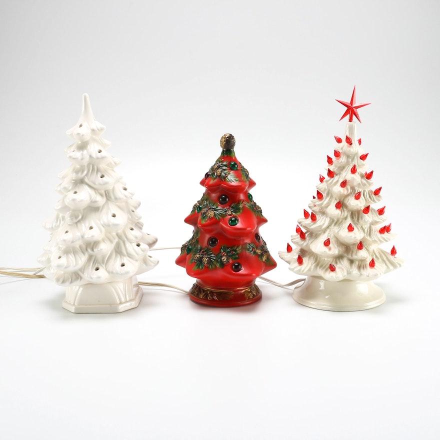 Mid Century Tabletop Ceramic Christmas Tree Decor