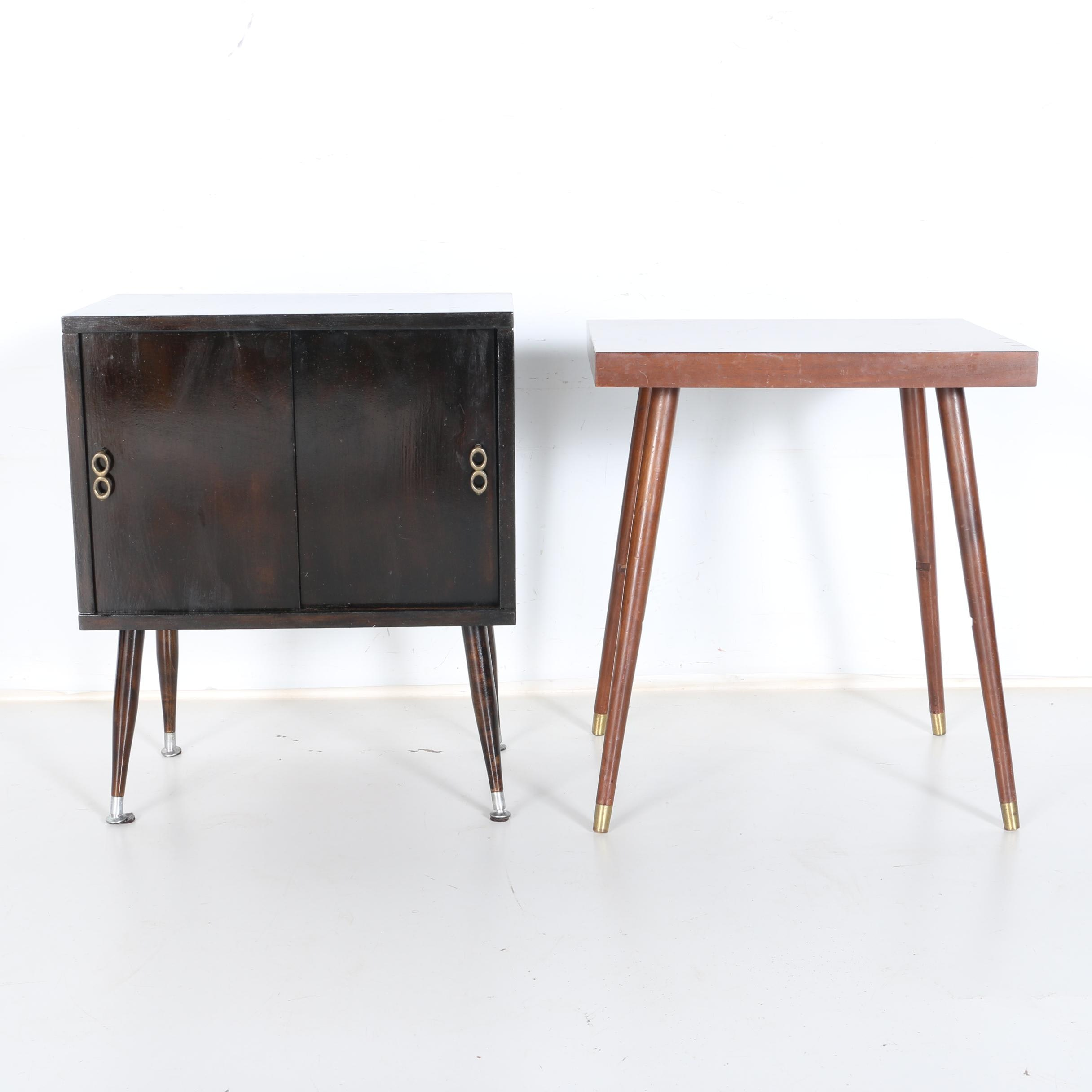Mid Century Modern Style Table and Lu Van Inc Records Cabinet