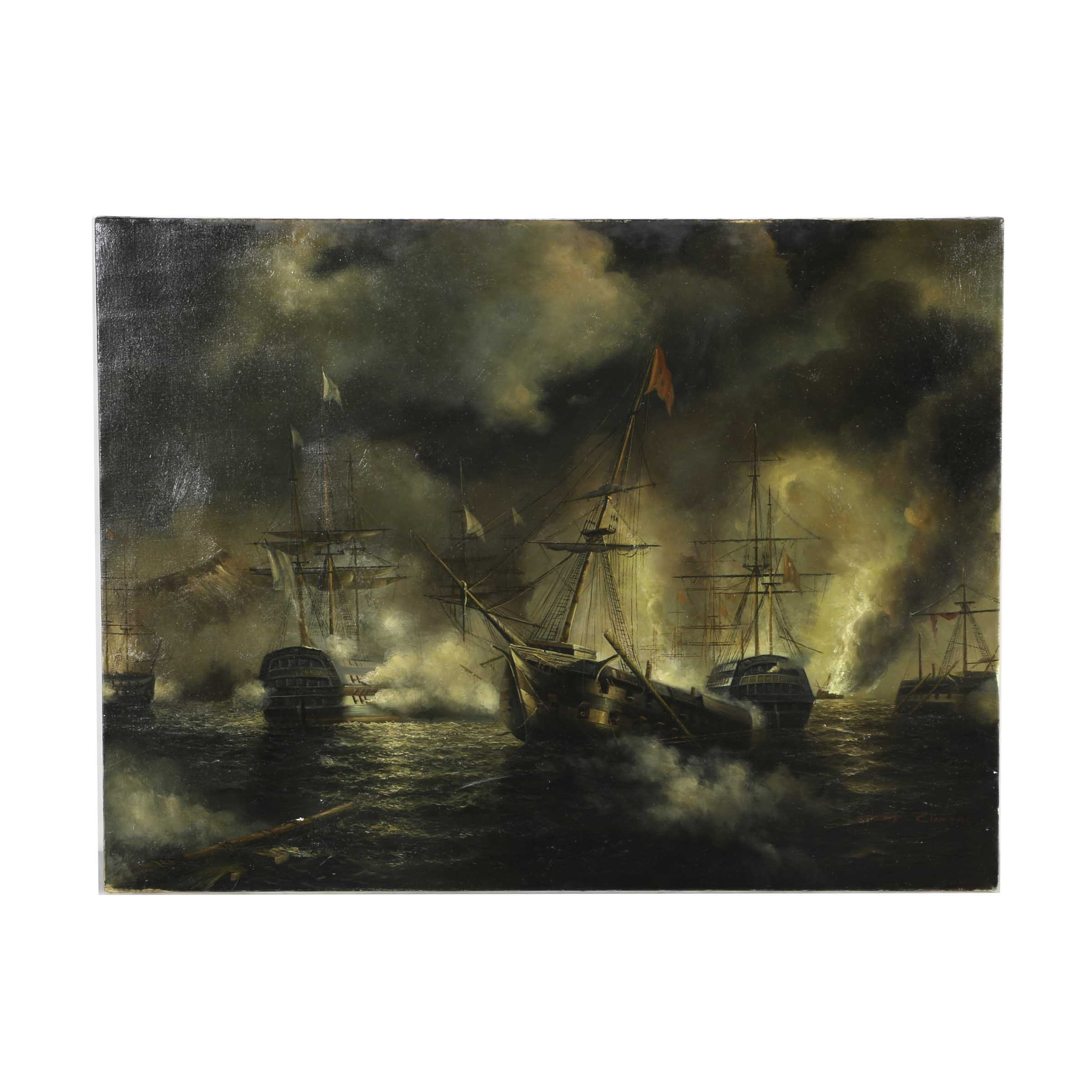 Oil Painting on Canvas of Naval Combat