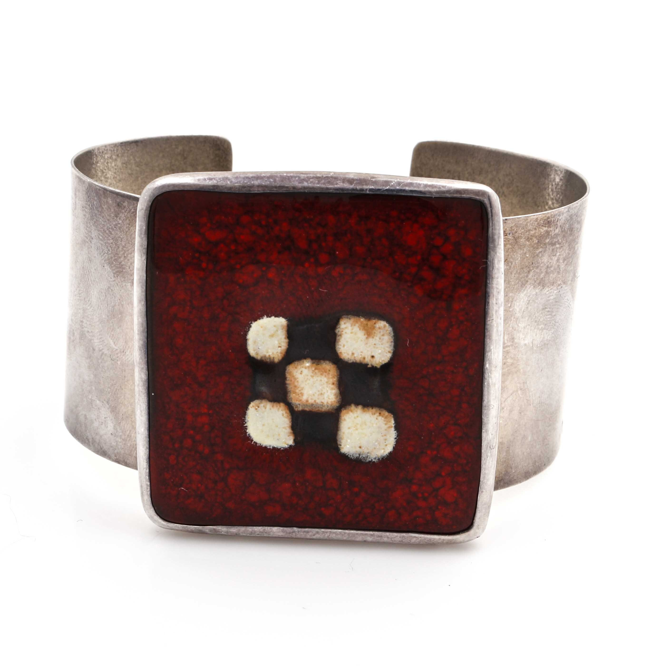 Sterling Silver and Enamel Cuff