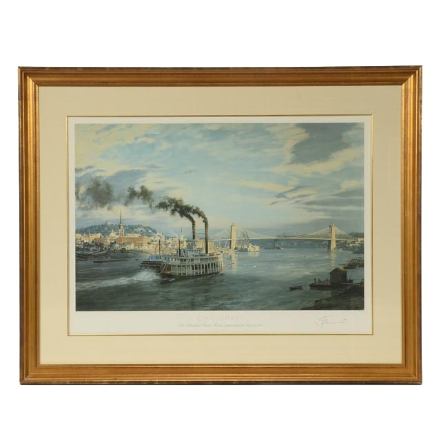 "John Stobart Signed Limited Edition 1988 Offset Lithograph ""Cincinnati: The Sternwheel Packet 'Hudson' Approaching the City in 1888"""