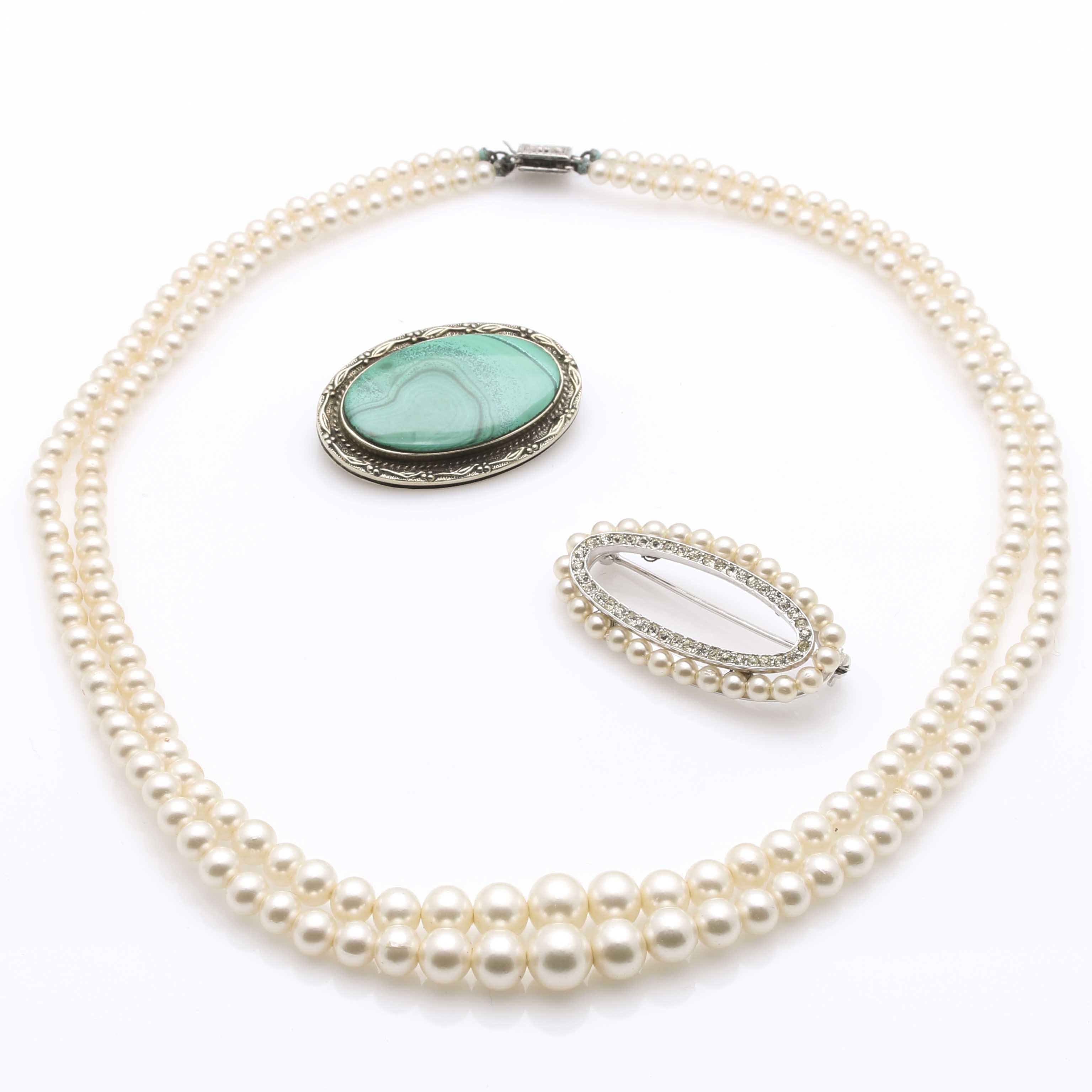 Trifari Pearl Brooch and Faux Diamond and Malachite Stone Jewelry