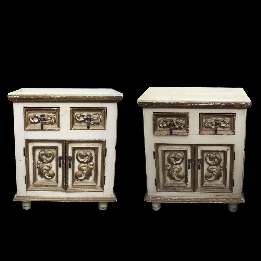 Pair of Ornate Antique Travertine Top Night Stands