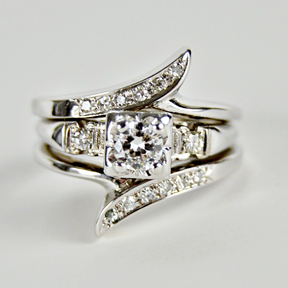 14K Gold and Diamond Bypass Ring