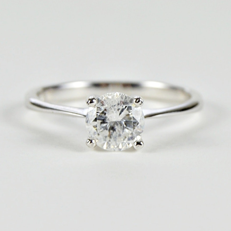 18K White Gold 0.98 CT Diamond Four Prong Solitaire Ring