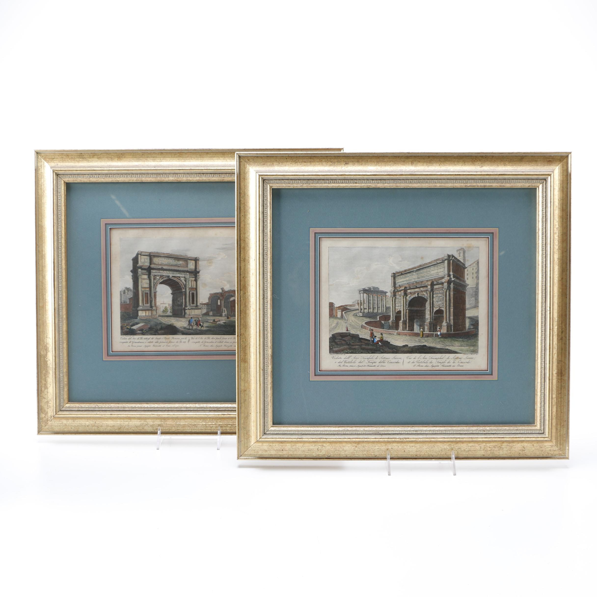 After Simone Pomardi Hand Colored Lithographs of View of Rome