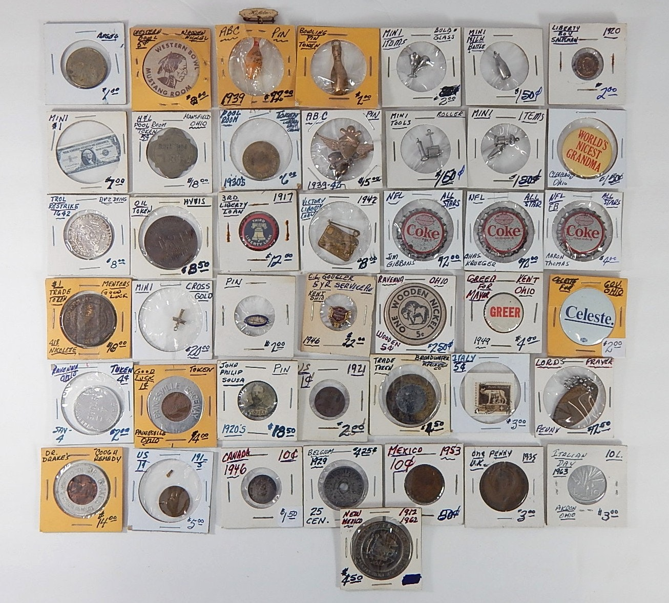 Large Collection of Vintage Tokens, Pinbacks and Small Momentos