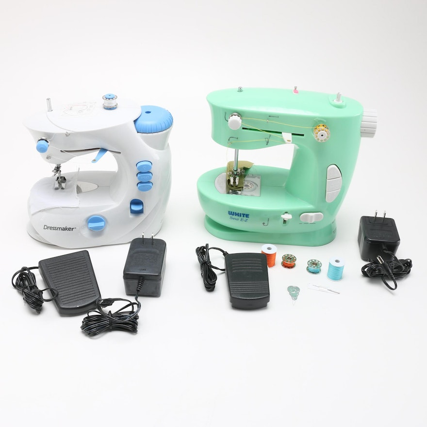 White Sew E Z Sewing Machine And Dressmaker Sewing Machine EBTH Interesting White Sew EZ Mini Sewing Machine