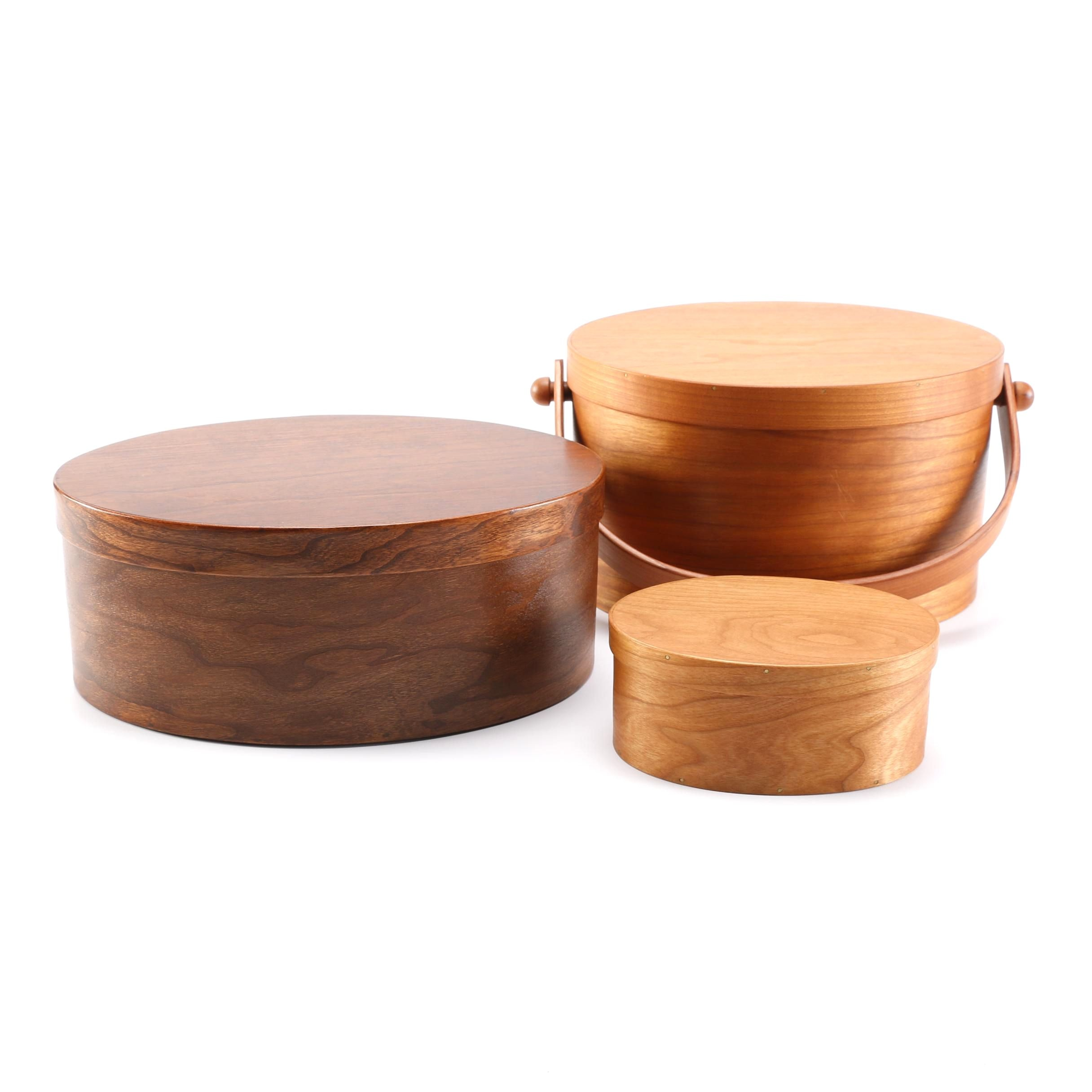 Wooden Shaker Sewing Baskets and Button Box