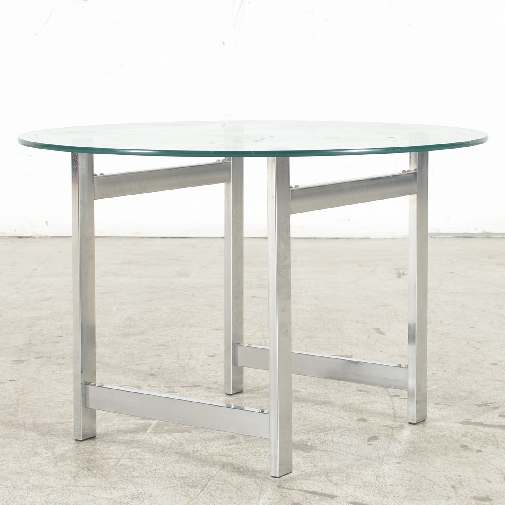 Mid Century Modern Chrome and Glass Side Table
