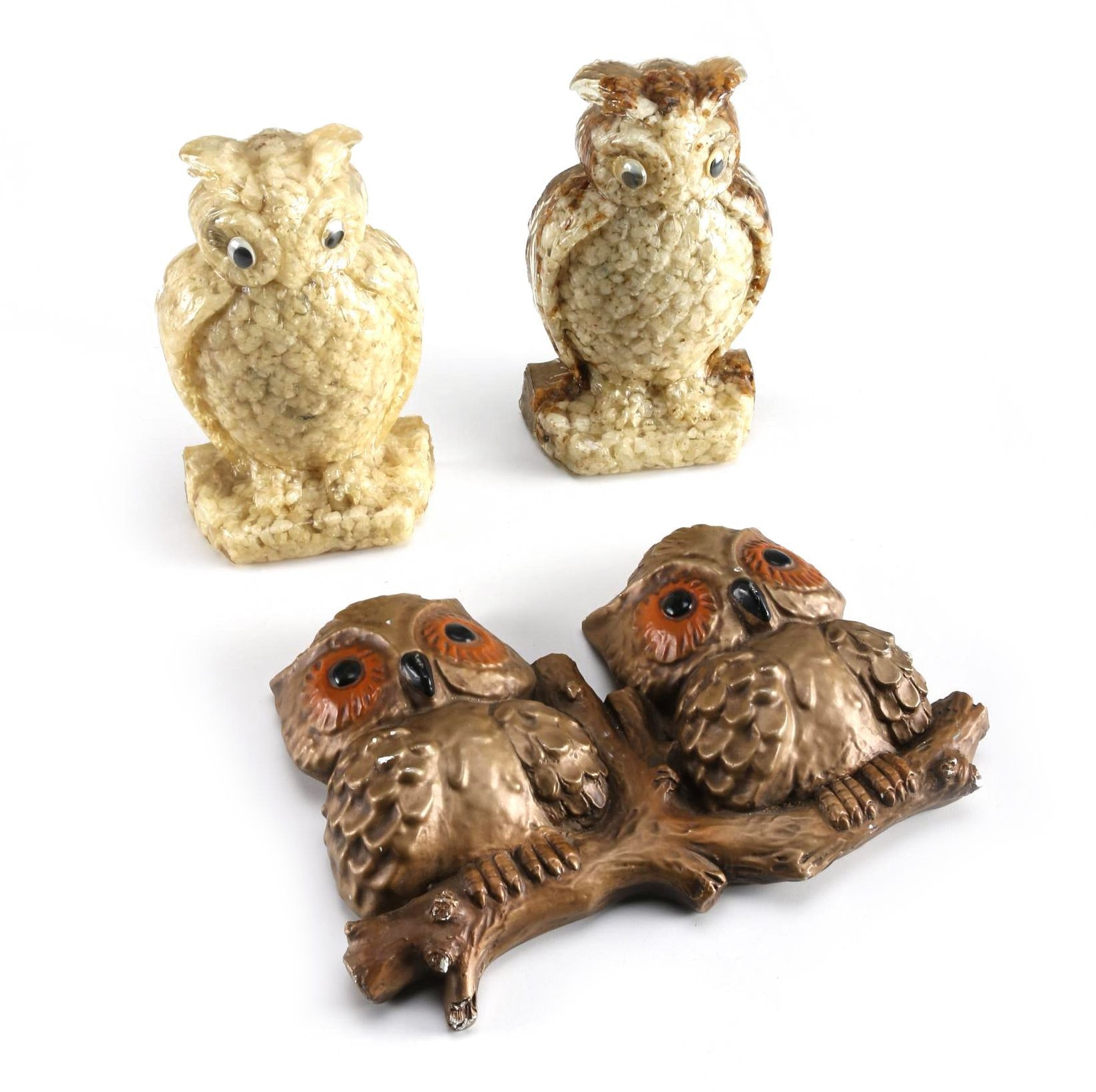 Vintage Roman Art Company Owl Wall Decor and Composite Bookends