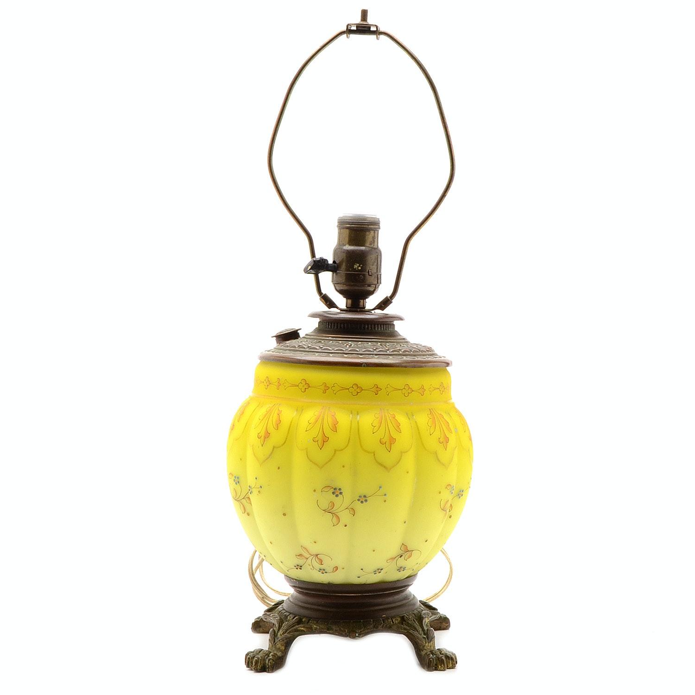 Satin Finish Art Glass Antique Lamp