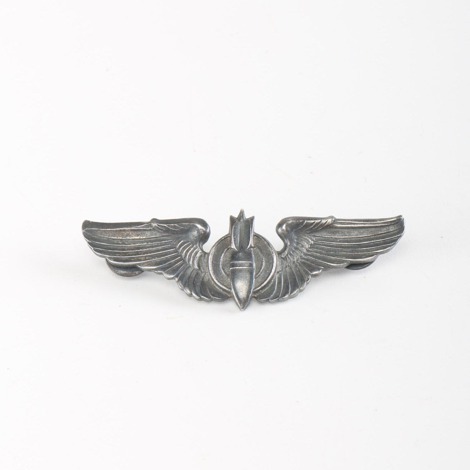 WWII U. S. Army Air Force Sterling Silver Bombardier Wings