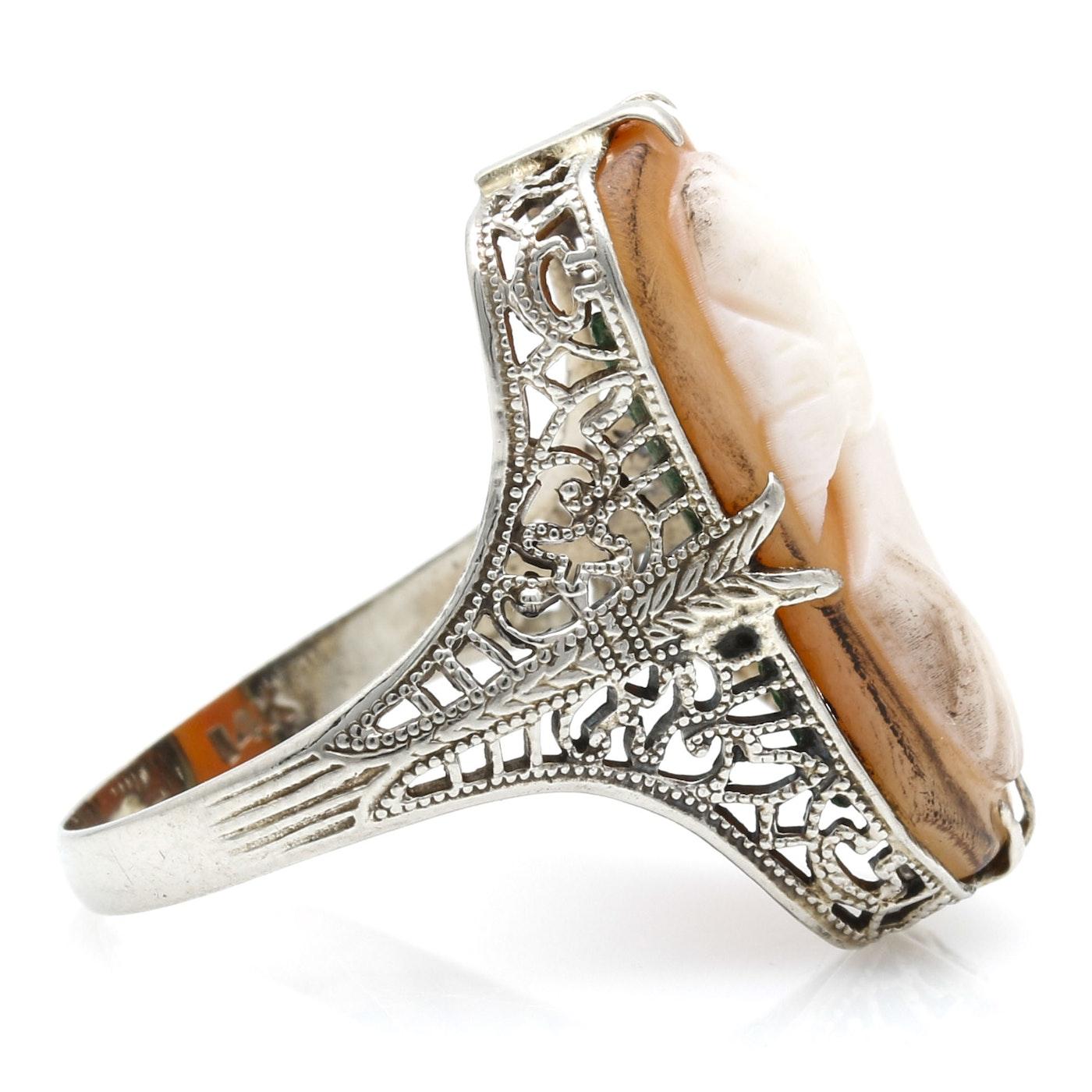 14K White Gold Shell Cameo Filigree Ring | EBTH