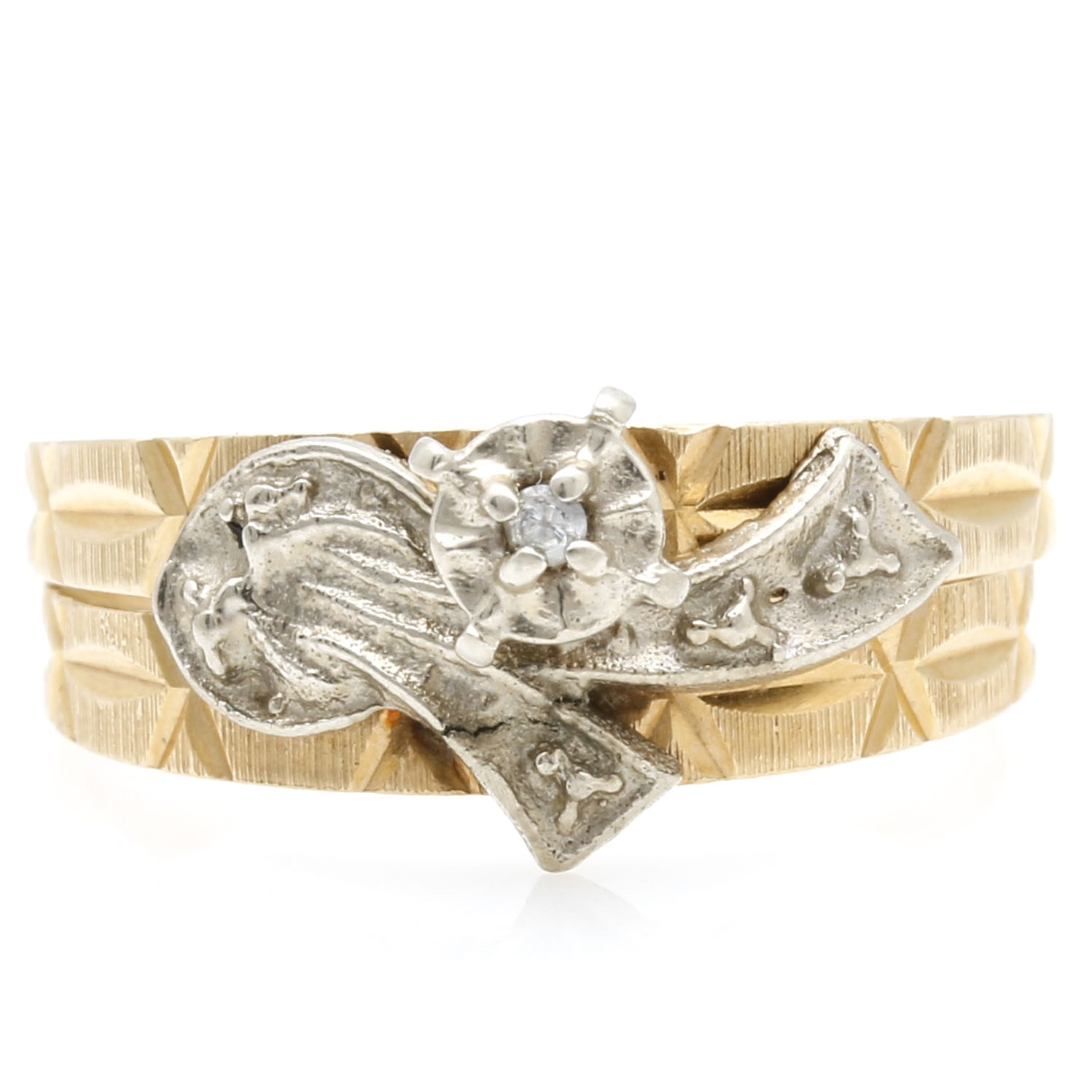 18K Two-Tone Gold Cubic Zirconia Ring Set