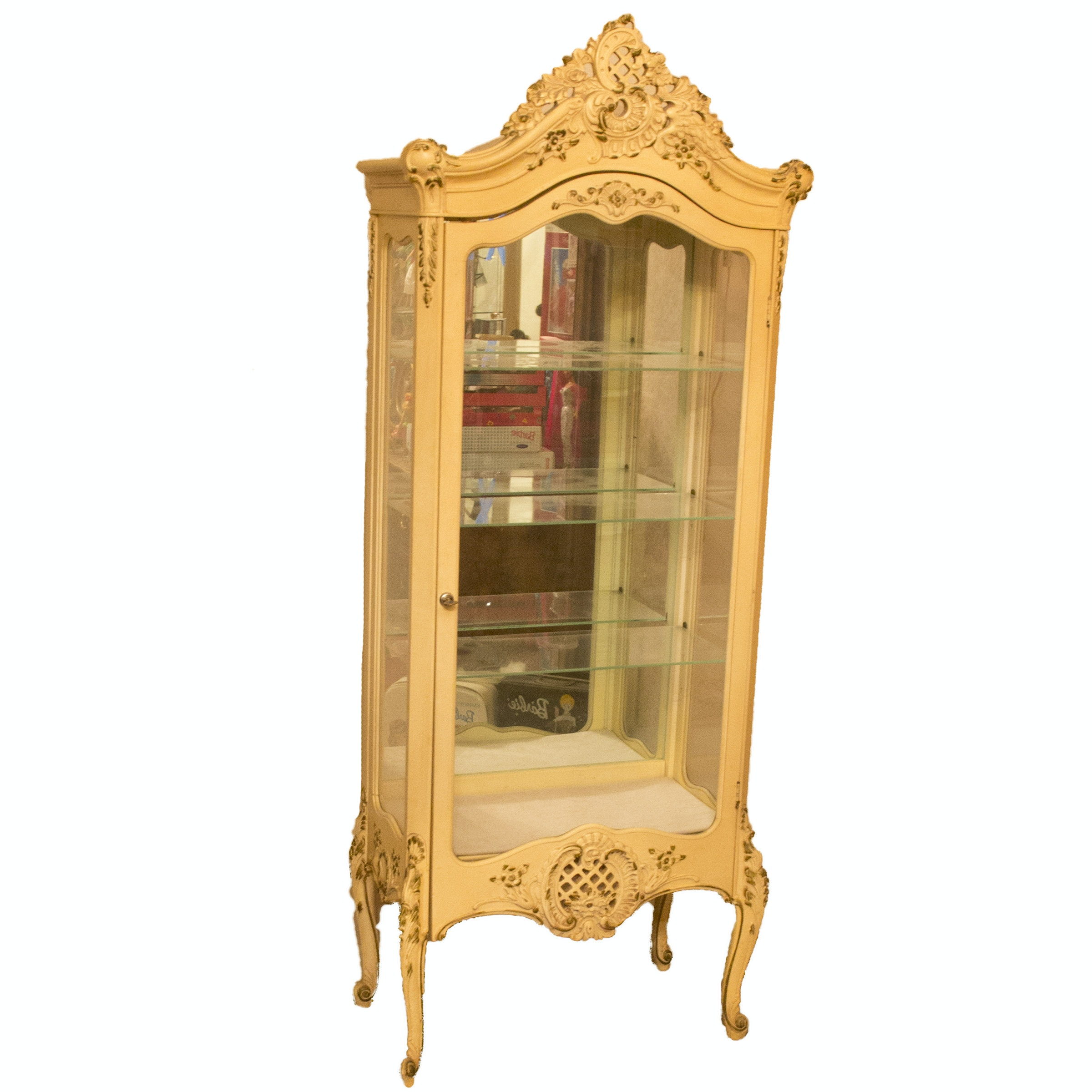 Vintage Louis XV Style Glazed-Door Display Cabinet