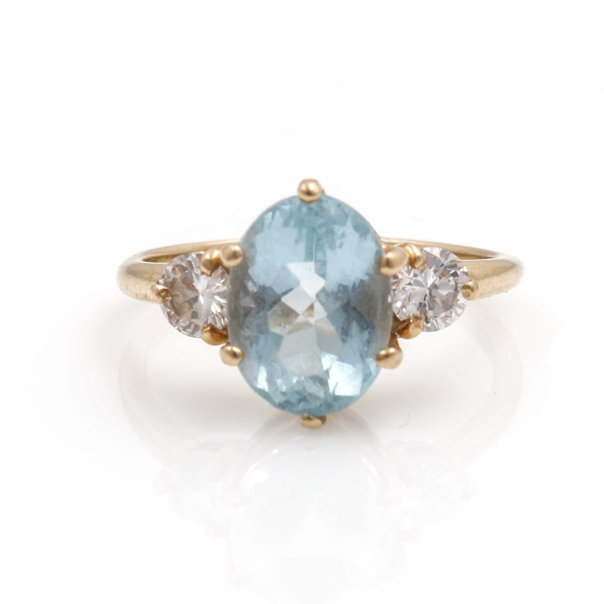 14K Yellow Gold Aquamarine and Diamond Ring