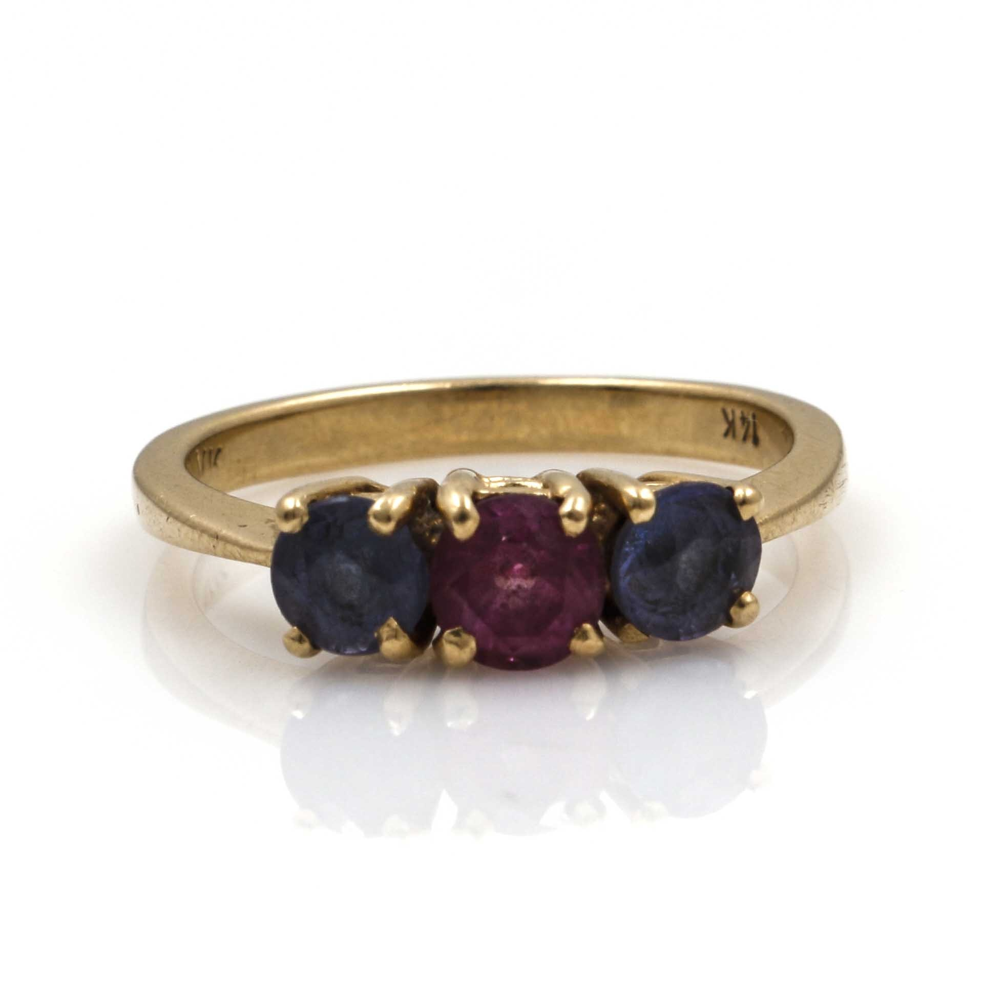 14K Yellow Gold Tanzanite and Ruby Ring