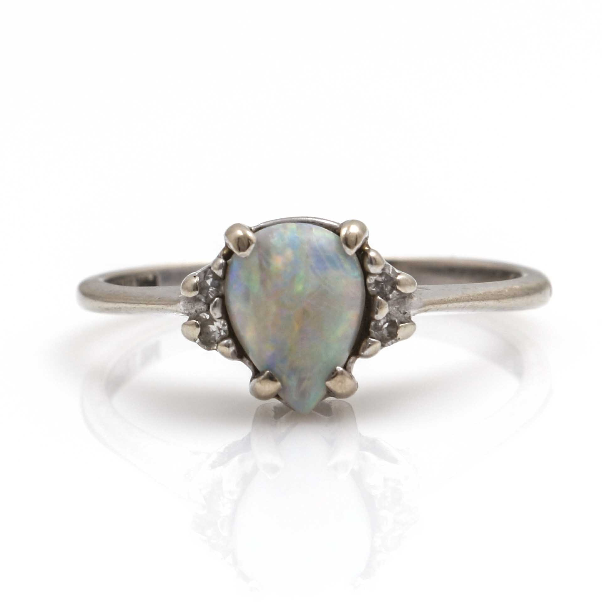 14K White Gold Opal and Diamond Ring by Trubrite