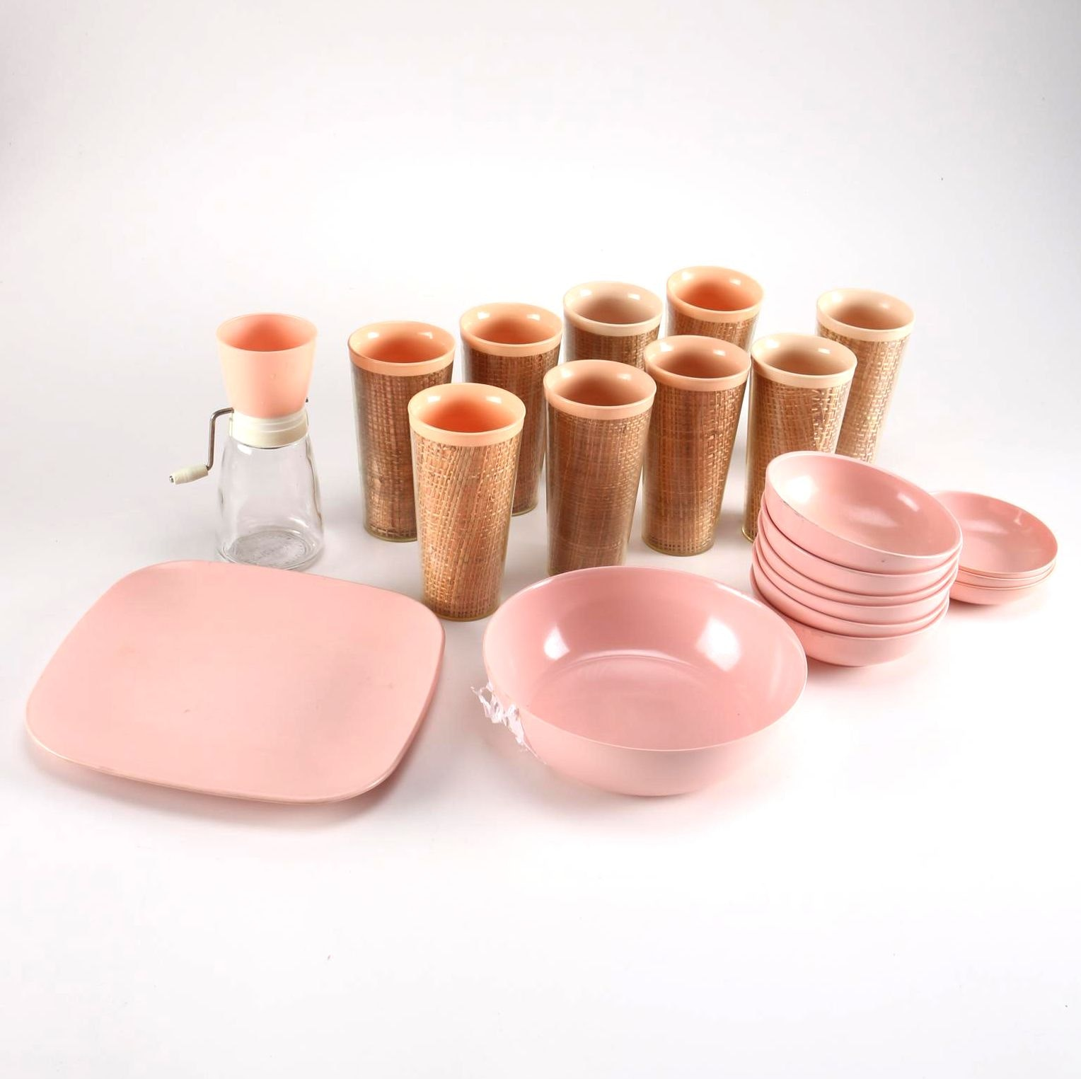 Vintage Pink Plastic Dishware
