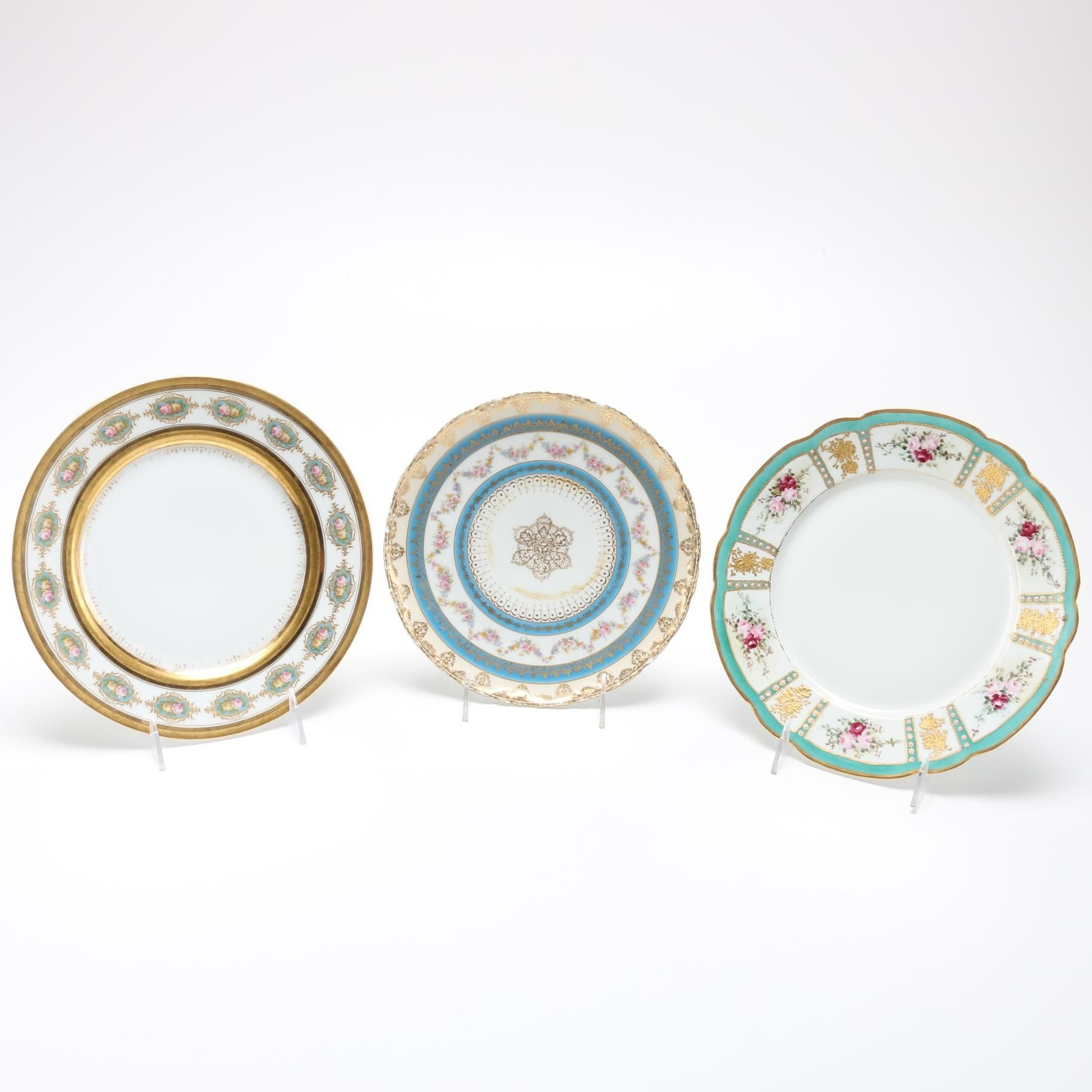 Limoges Plates Featuring Pouyat and Ahrenfeldt
