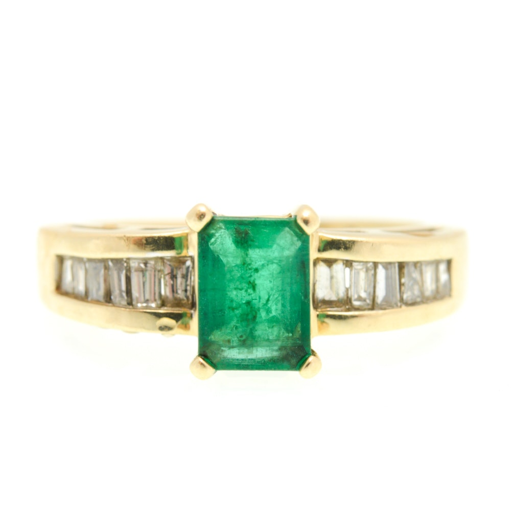 14K Yellow Gold 0.50 CTW Diamond and 0.90 CT Emerald Ring