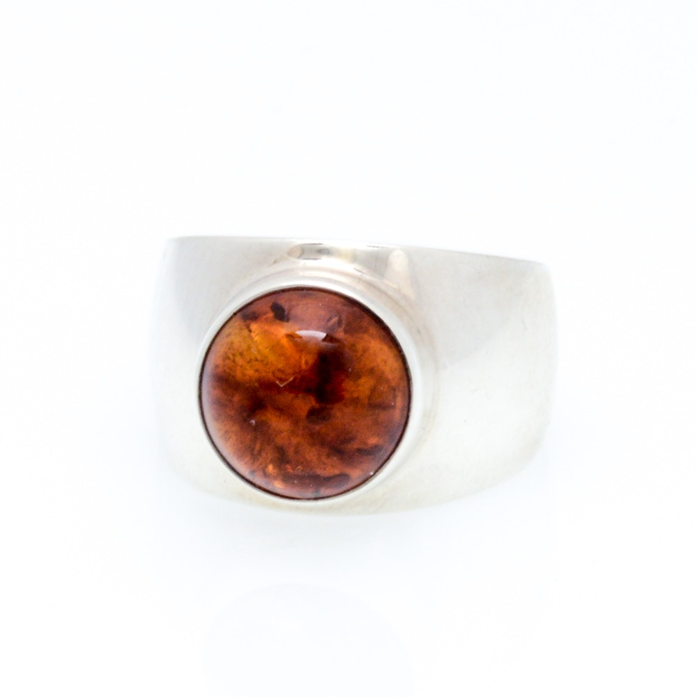 Sterling Silver Synthetic Amber Statement Ring
