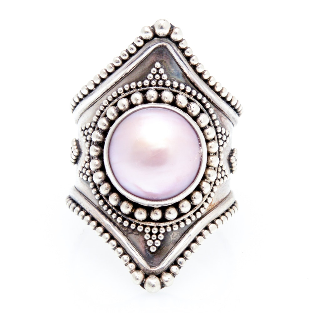 Sterling Silver Ring Accented with Mabe Pearl