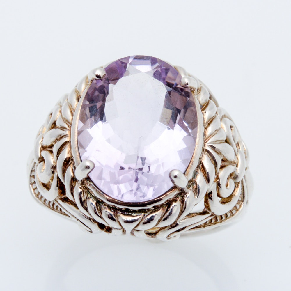 Statement Sterling Silver Natural Amethyst Ring