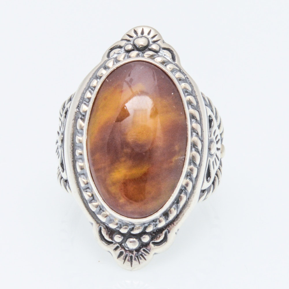 Sterling Silver Oval Cabochon Ring