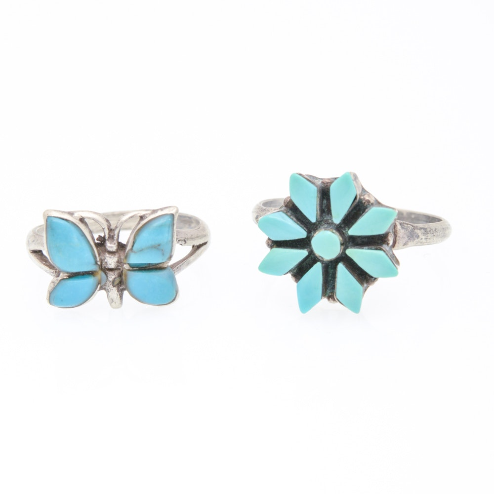 Pair of Sterling Silver Natural Turquoise Rings
