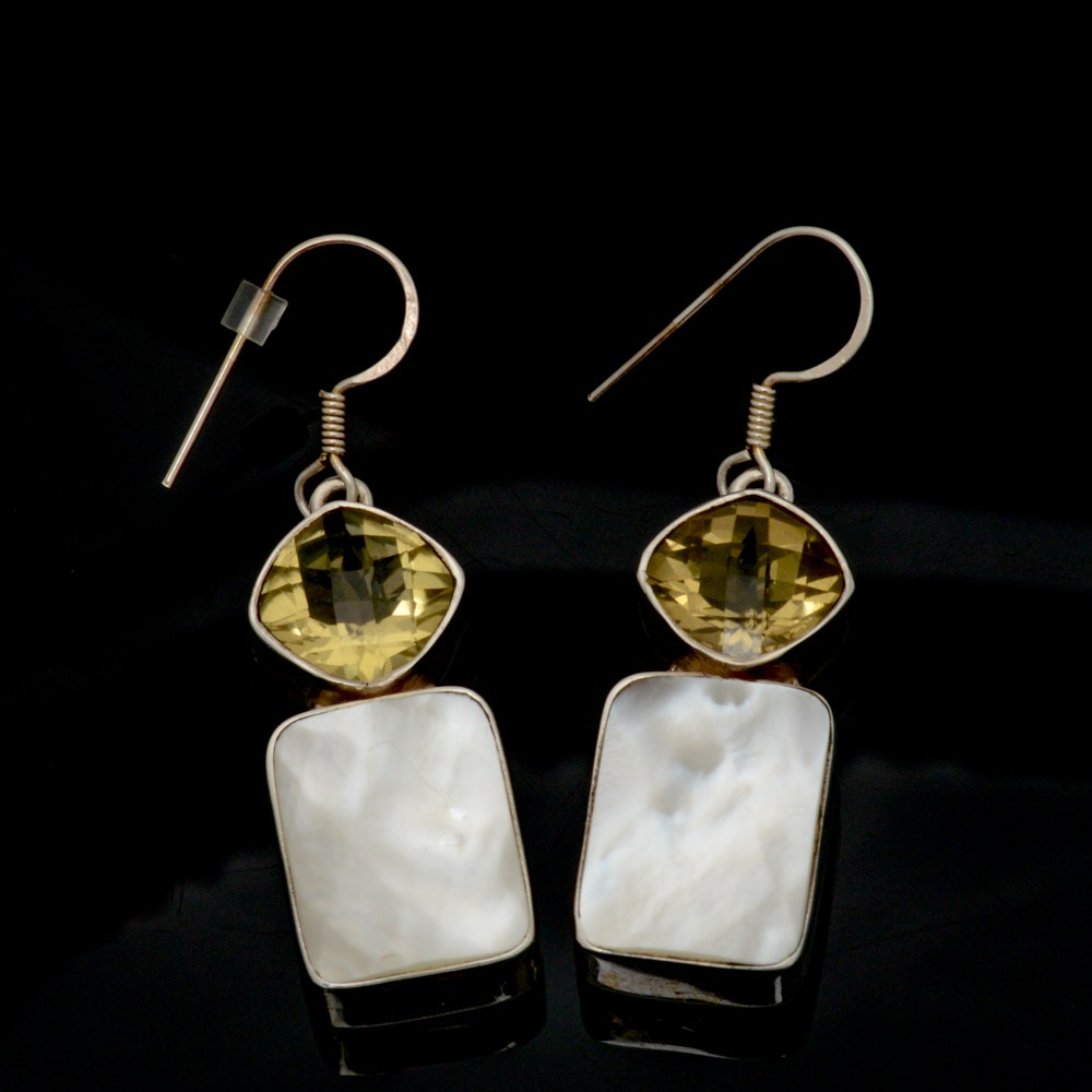 Sterling Silver, Mother of Pearl, and Yellow Quartz Earrings