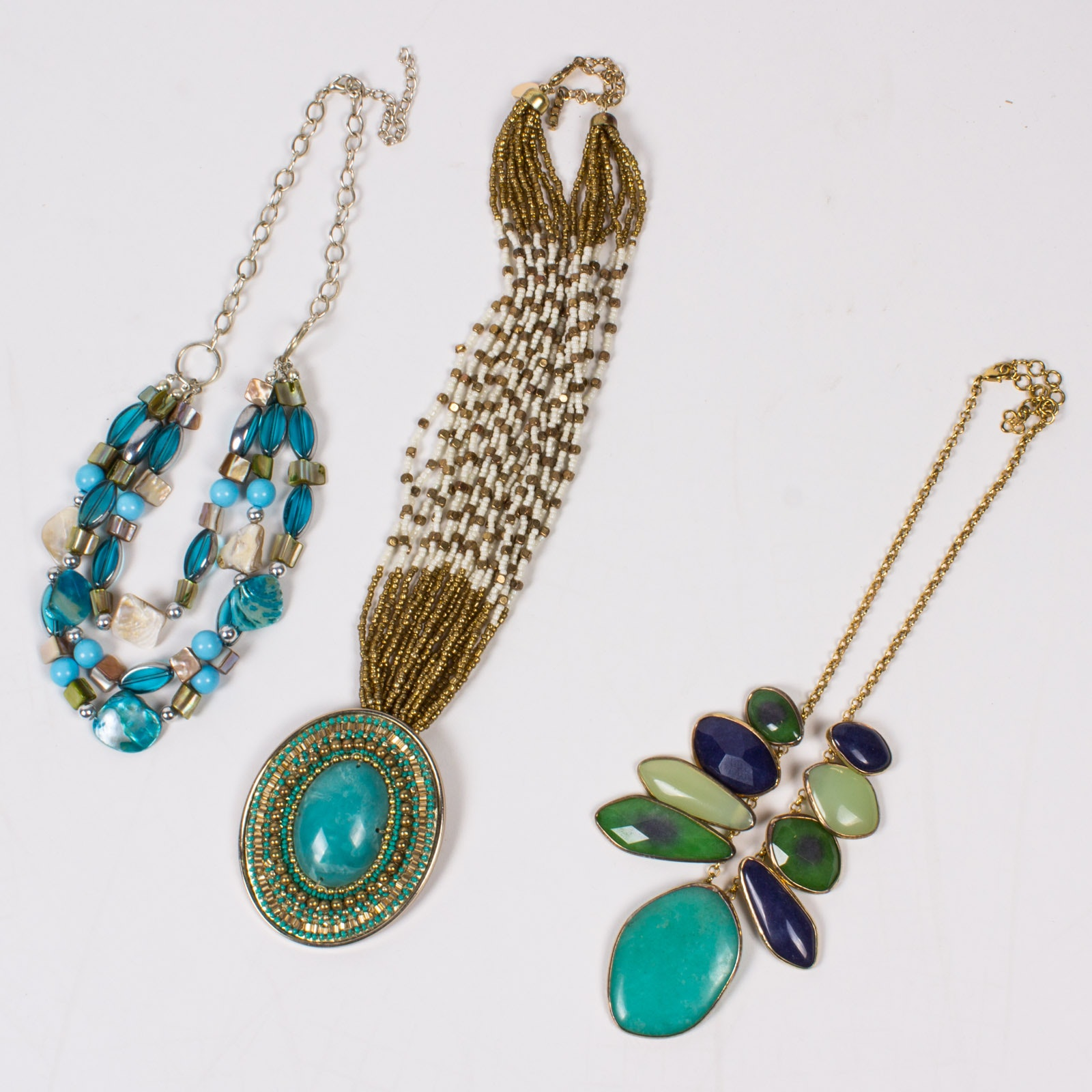 Collection of Three Blue Beaded Necklaces