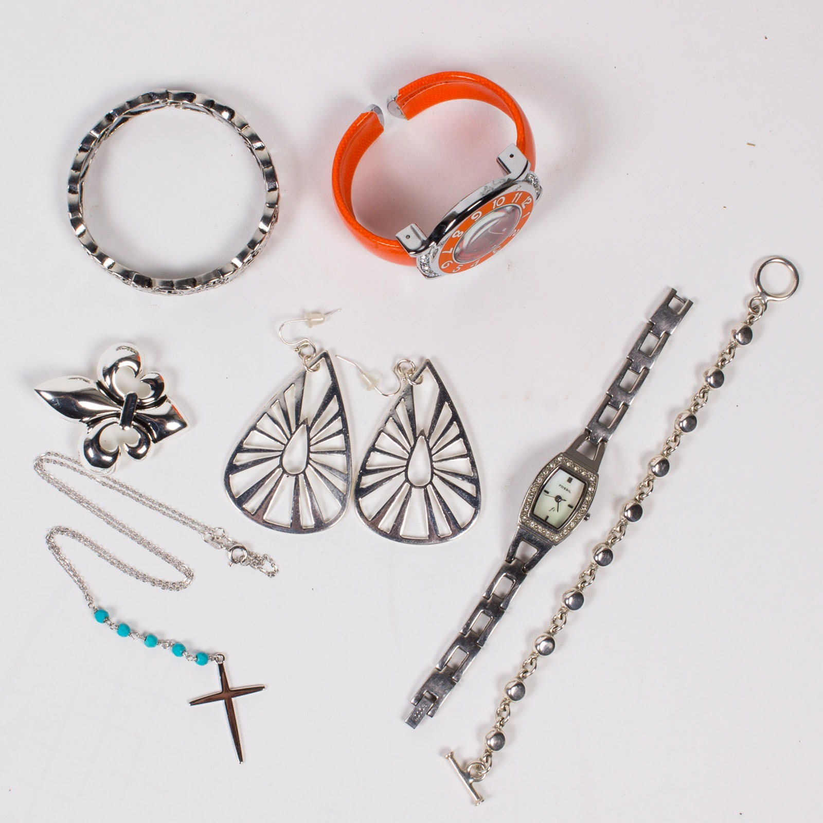 Assorted Watches, Sterling Silver Bracelet and Cross Pendant Necklace