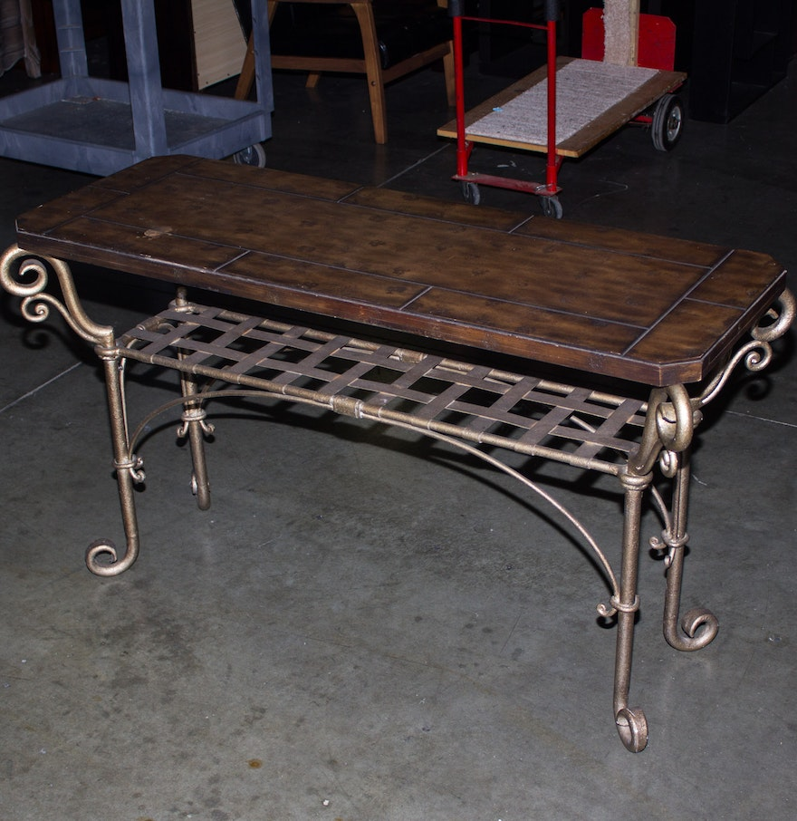 Scrolled metal and wood coffee table - Wood And Tile Coffee Table With Scroll Metal Frame