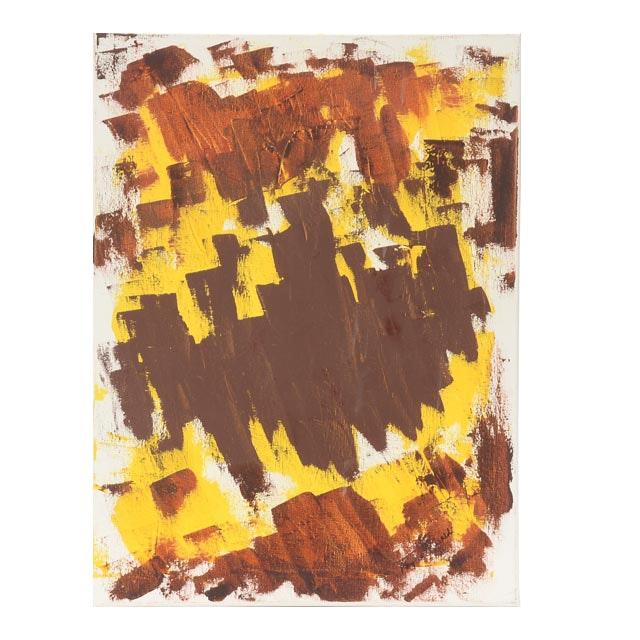 "Phyllis Rinaldi Signed Acrylic on Canvas ""Brown & Yellow Scrape"""