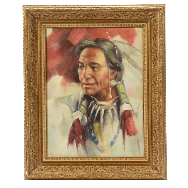 Hicter Signed Original Native American Oil on Canvas Board