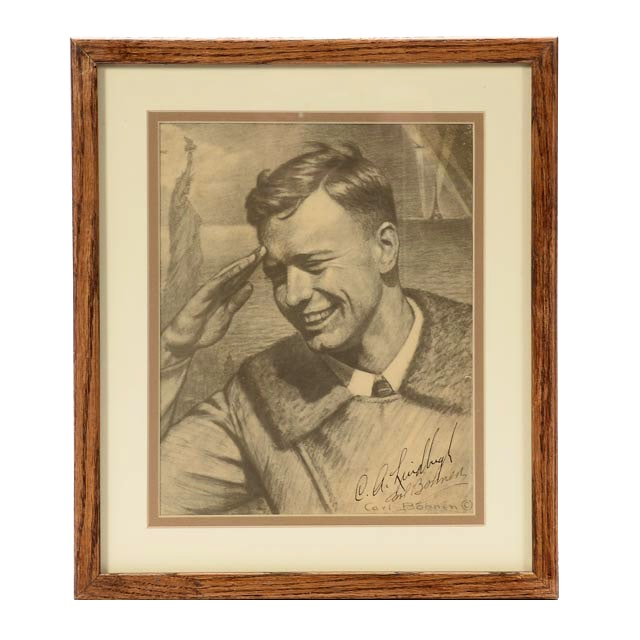 Charles Lindbergh Signed Offset Lithograph Portrait by Carl Bohne