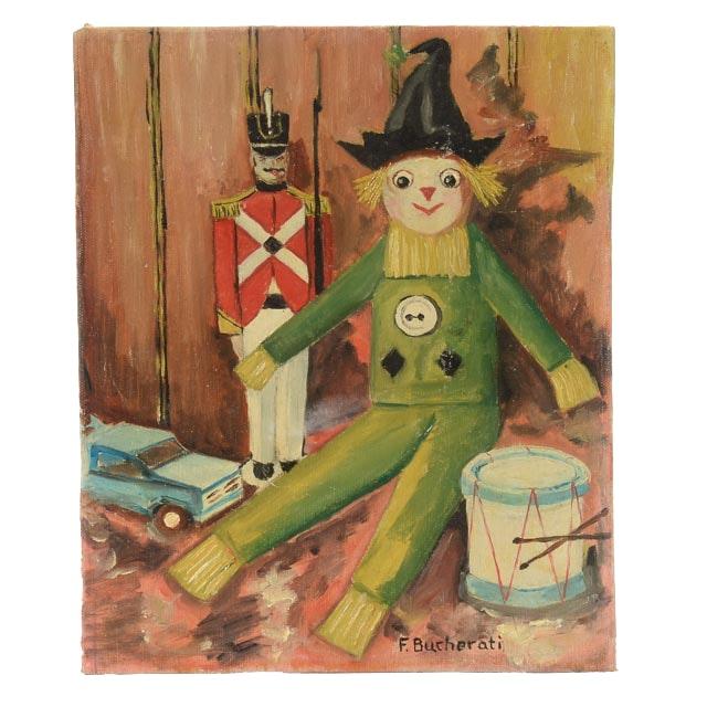 F. Bucherati Original Oil Painting on Academy Board