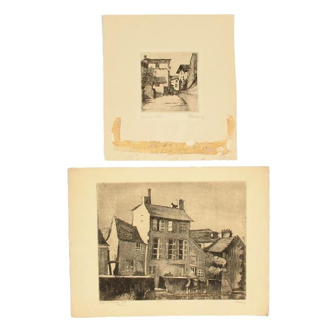 Pair of Original Signed Etchings of European Architecture