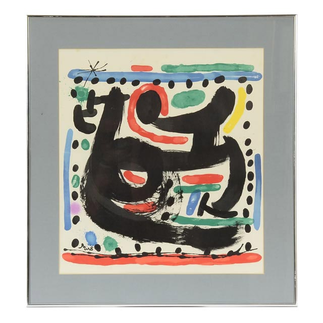 """Joan Miró 1967 Hand-Pulled """"Atelier Mourlot"""" Exhibition Poster"""