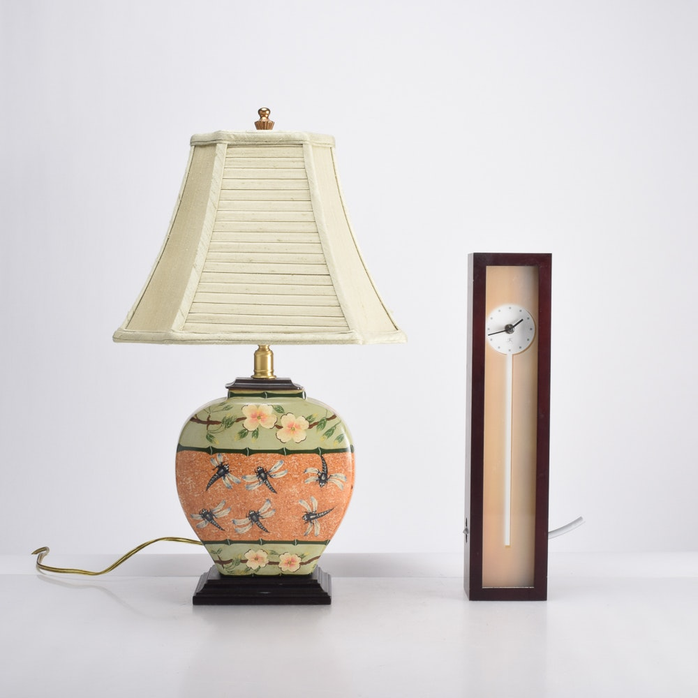 Asian Inspired Table Lamp and Modern Clock