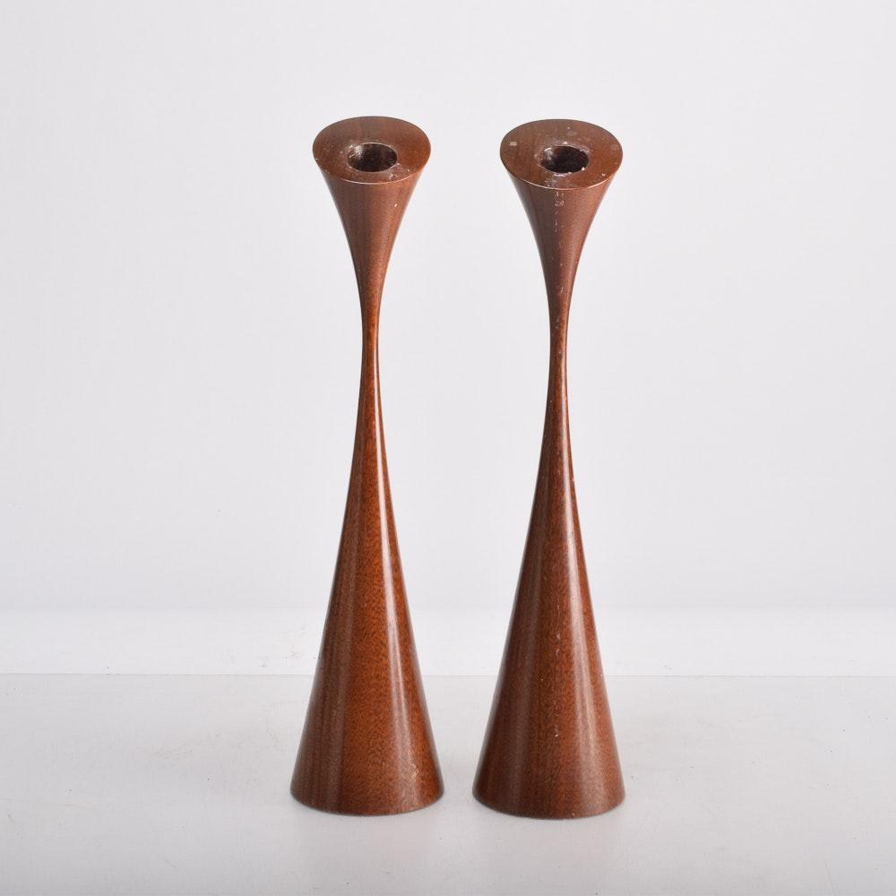 Danish Modern Wood Candle Holders