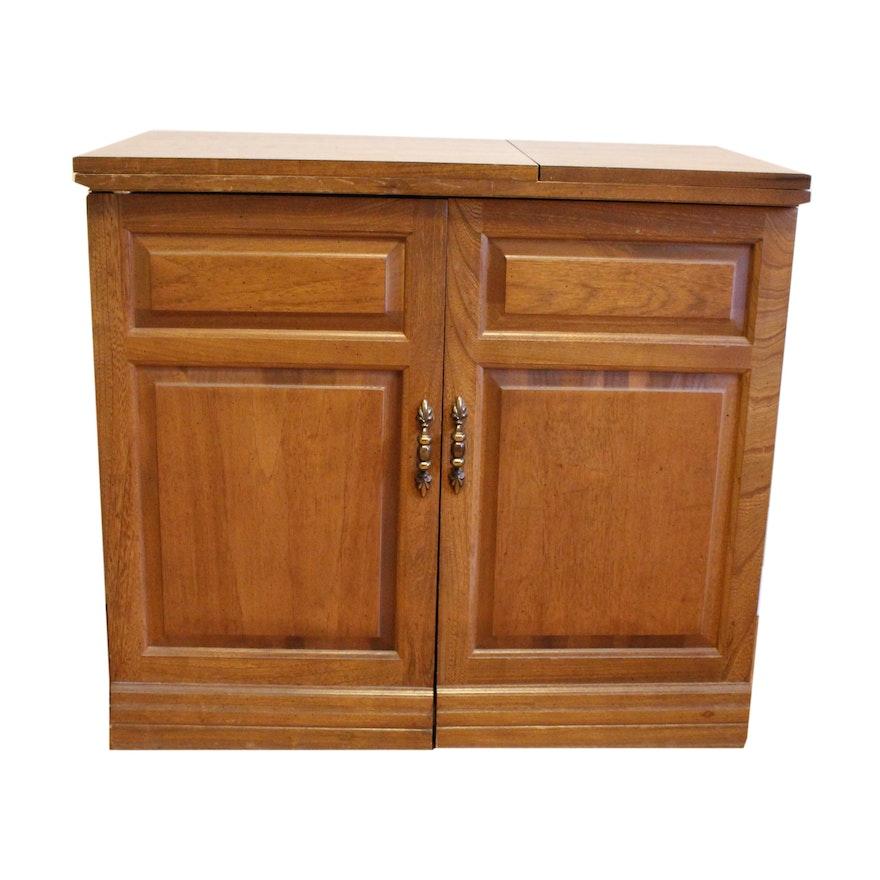 parsons wood sewing cabinet ebth. Black Bedroom Furniture Sets. Home Design Ideas